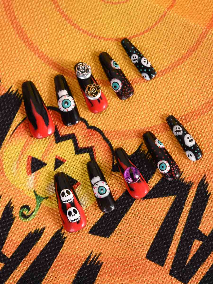 halloween blood nails