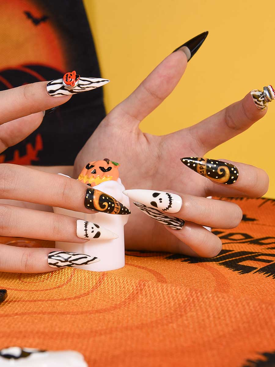 orange halloween nails