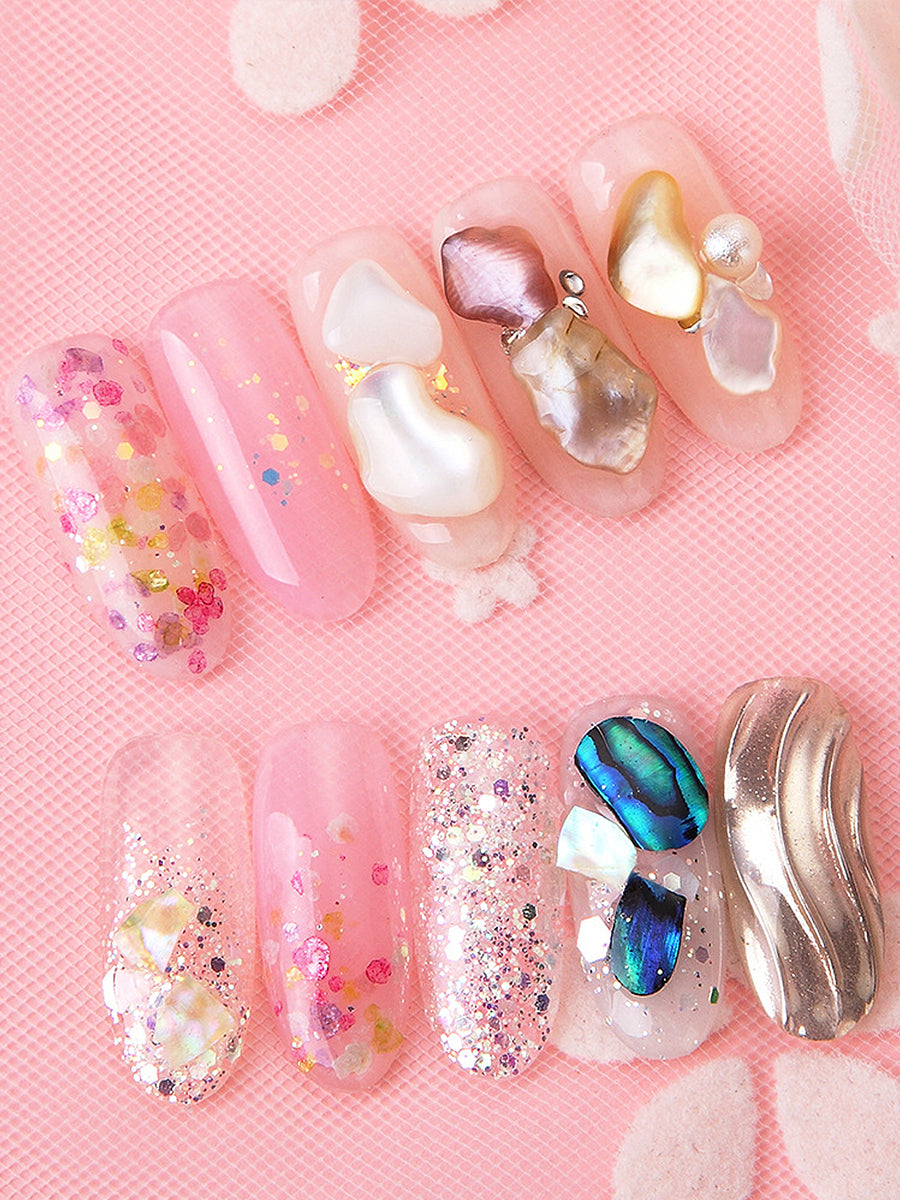 seashell glitter nails
