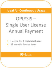 Load image into Gallery viewer, OPLYSIS - Recurring single user license, billing every 12 months, 1 user