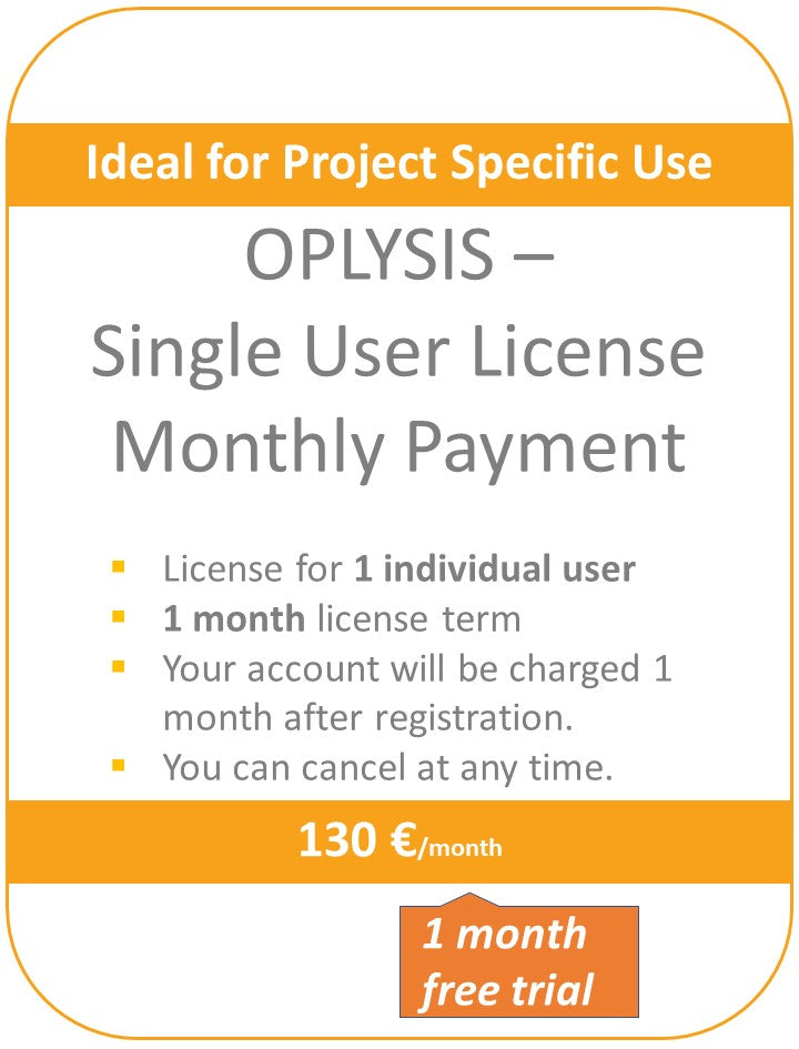 OPLYSIS - Recurring single user license, billing every month, 1 user - Free Testing for first month