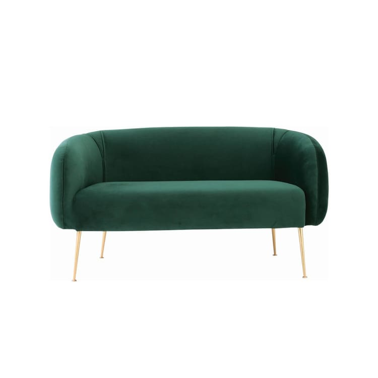 Alero 2 Seater Sofa with Gold-Plated Leg, Dark Green | Suitable for Living Room, Bedroom, Small and