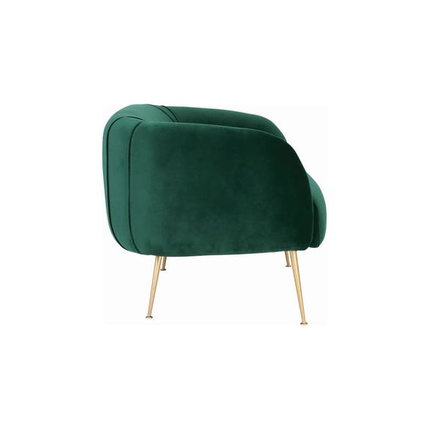 Alero 2 Seater Sofa with Gold-Plated Leg, Dark Green - Home And Style