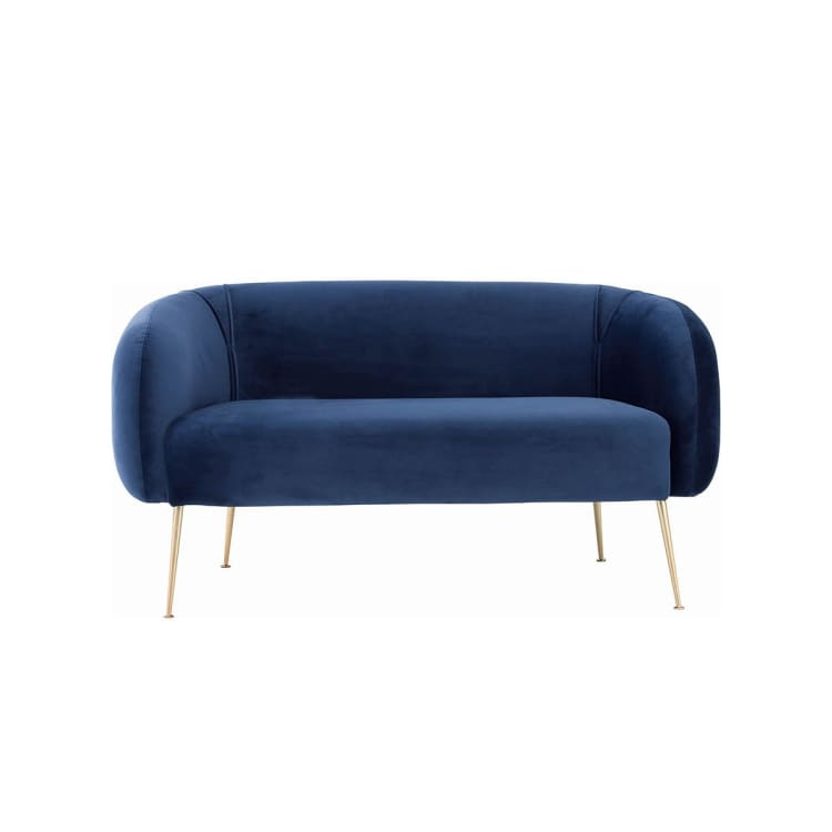 Alero 2 Seater Sofa with Gold-Plated Leg, Midnight Blue | Suitable for Living Room, Bedroom, Small