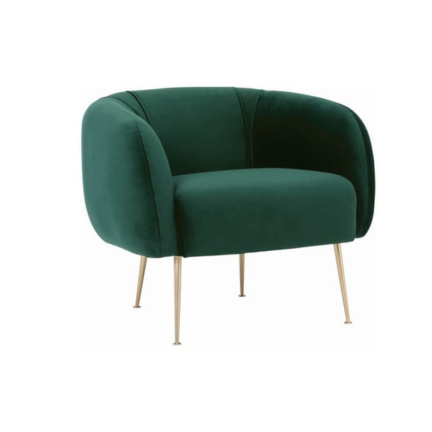 Alero Armchair with Gold-Plated Leg, Dark Green - Home And Style