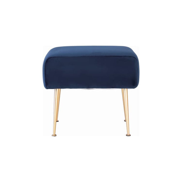 Alero Ottoman with Gold-Plated Leg, Midnight Blue - Home And Style