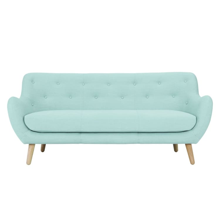 Alfa 3 Seater Aquamarine Fabric Sofa | Suitable for Living Room, Bedroom, Small and Compact Spaces,