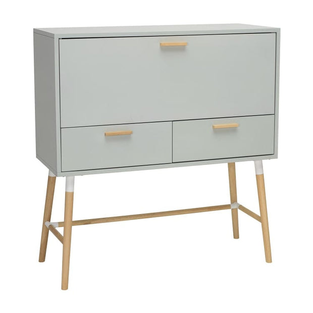 Arod Working Desk Grey Body & Oak Leg - Home And Style