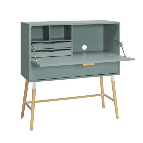 Arod Working Desk Sage Green Body & Oak Leg - Home And Style