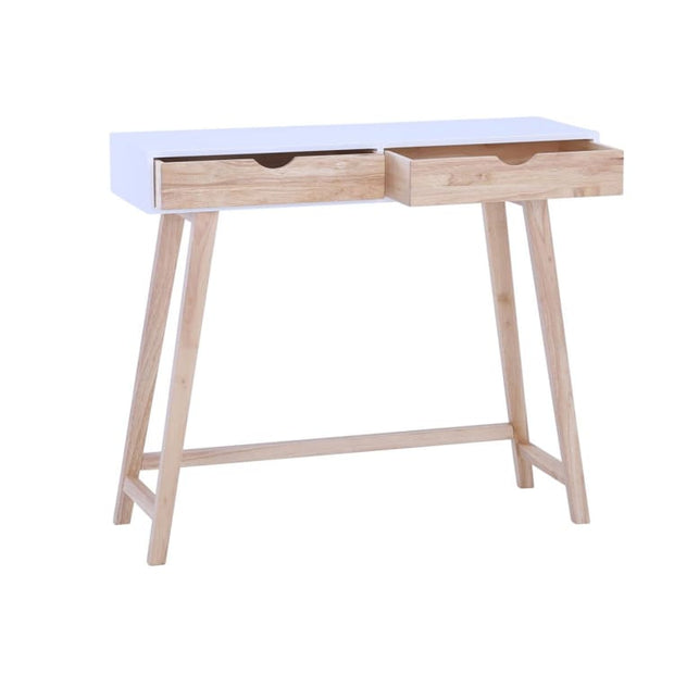 Arsenio Console Table In White Colour Top And Natural Colour Drawer - Home And Style