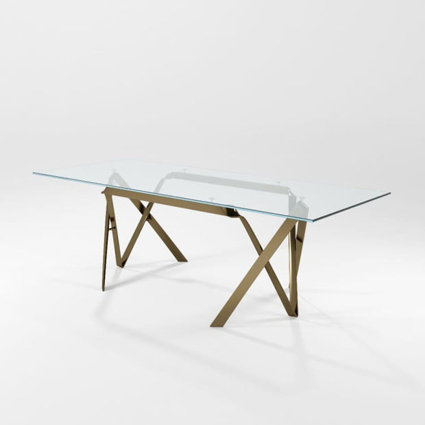 AS IS Compasso Glass Top Dining Table by Barel