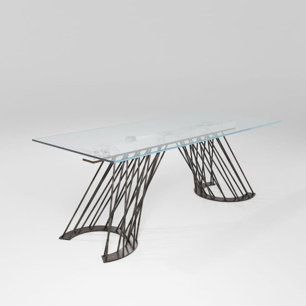 AS IS Pamplona Glass Top Dining Table by Barel