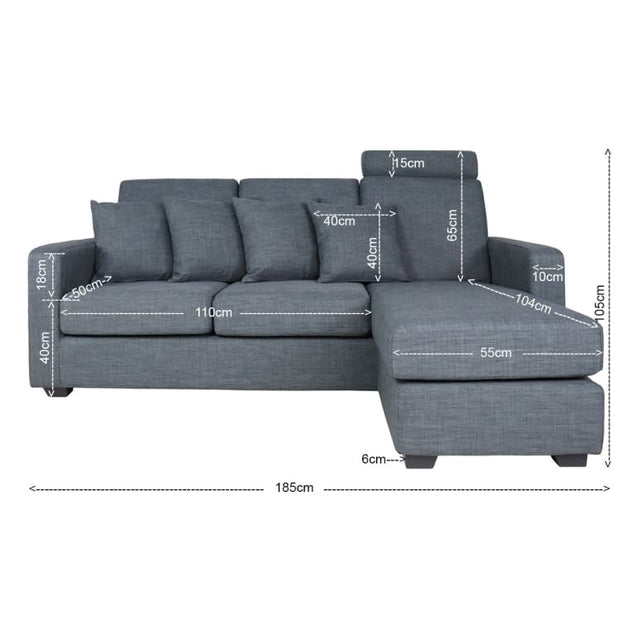 Bayron L Shape LEFT Side when Seated - Grey - Home And Style