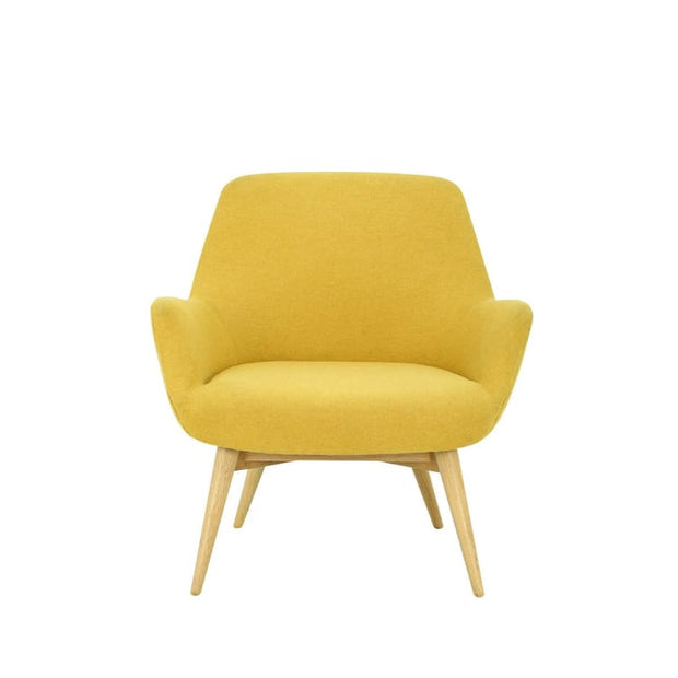 Berlingo Lounge Chair with Oak Leg, Yellow - Home And Style