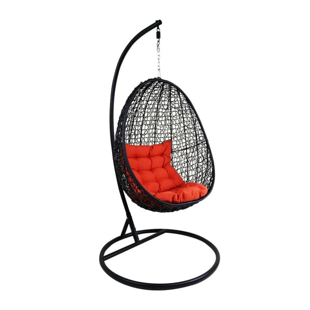 Black Cocoon Swing Chair, Orange Cushion by Arena Living - Home And Style