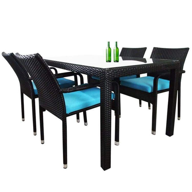 Boulevard 4 Chair Dining, Blue Cushions by Arena Living - Home And Style