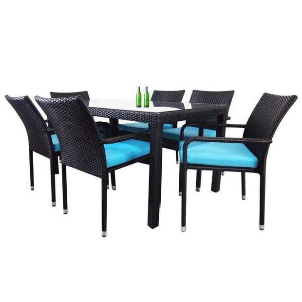 Boulevard 6 Chair Dining, Blue Cushions by Arena Living - Home And Style