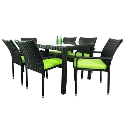 Boulevard 6 Chair Dining, Green Cushions by Arena Living - Home And Style