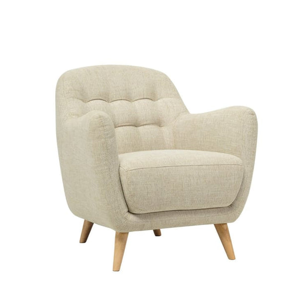 Cooper Fabric Armchair Oak Leg in Almond - Home And Style
