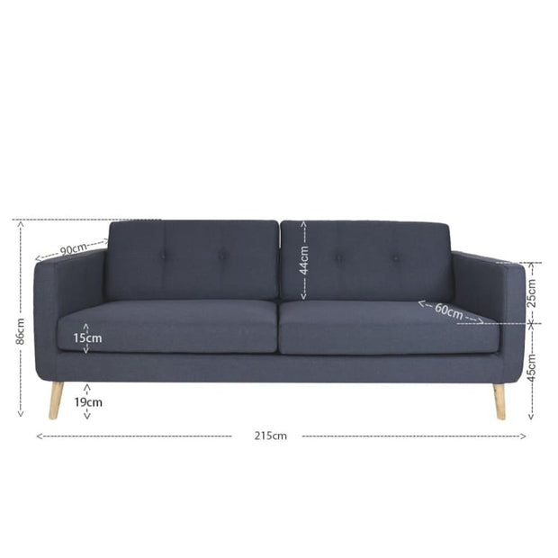 Eddie 3 Seater Sofa, Dark Grey - Home And Style