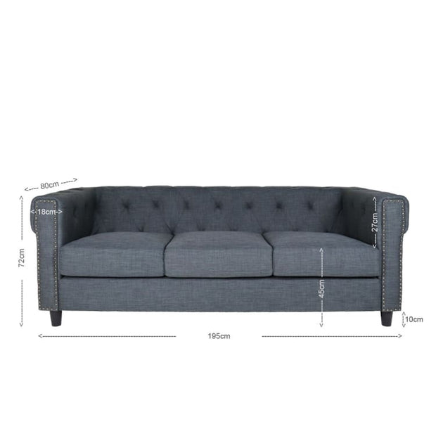 Eero 3 Seater Sofa, Grey - Home And Style