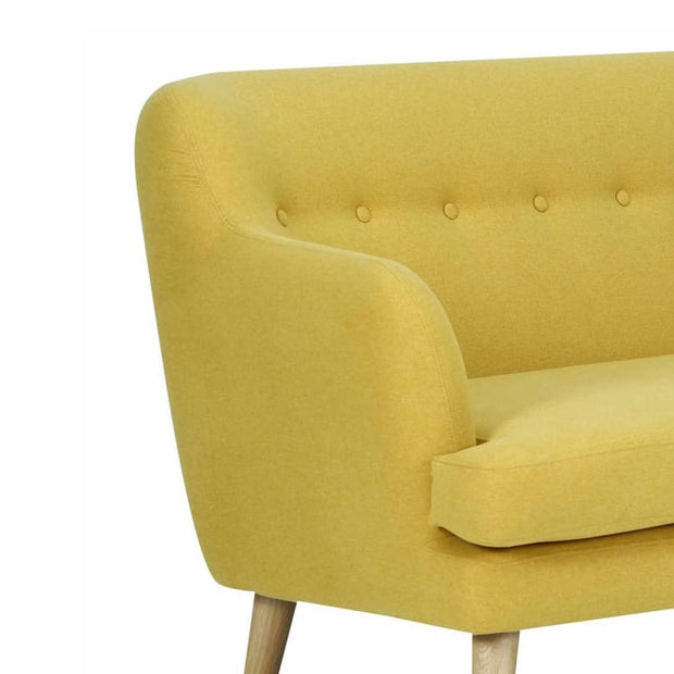 Exelero 2 Seater Sofa with Oak leg, Yellow - Home And Style