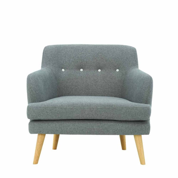 Exelero Armchair with Oak Leg, Battleship Grey - Home And Style