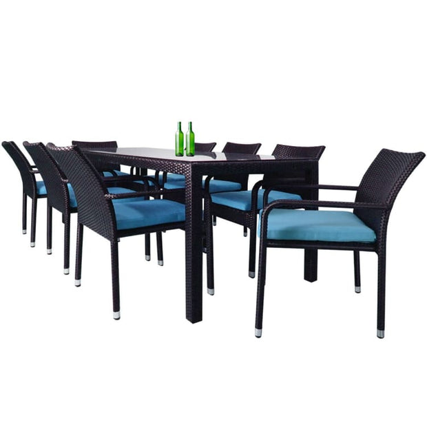Geneva 8 Chair Dining Blue Cushion - Home And Style
