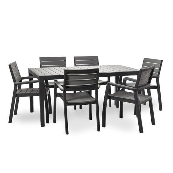 Harmony 6 Chairs Outdoor Dining Set, Dark Grey - Home And Style