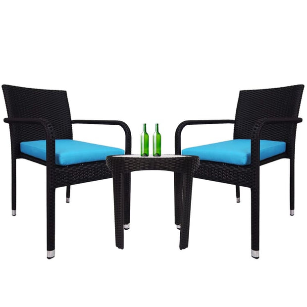 Jardin 2 chair Patio Set, Blue Cushion by Arena Living - Home And Style