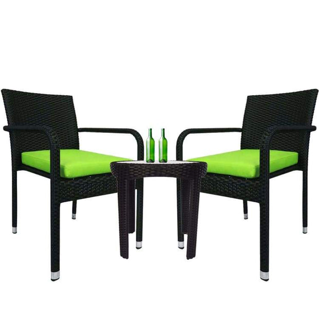 Jardin 2 chair Patio Set, Green Cushion by Arena Living - Home And Style