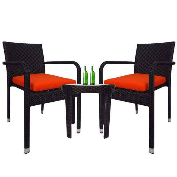 Jardin 2 chair Patio Set, Orange Cushion by Arena Living - Home And Style