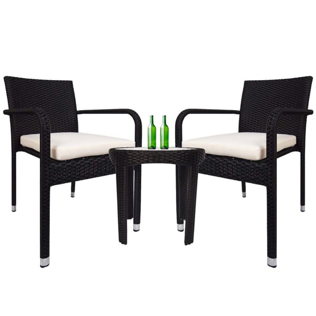 Jardin 2 chair Patio Set, White Cushion by Arena Living - Home And Style