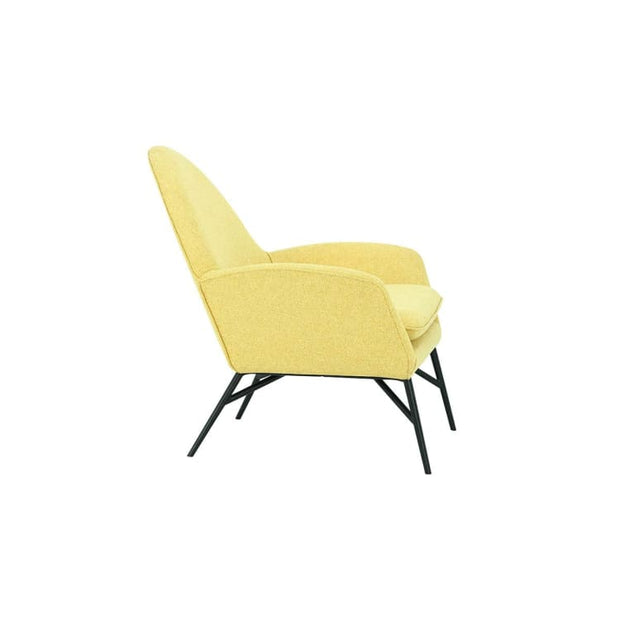 Lavinda Lounge Chair with Matt Black Epoxy Leg, Yellow - Home And Style