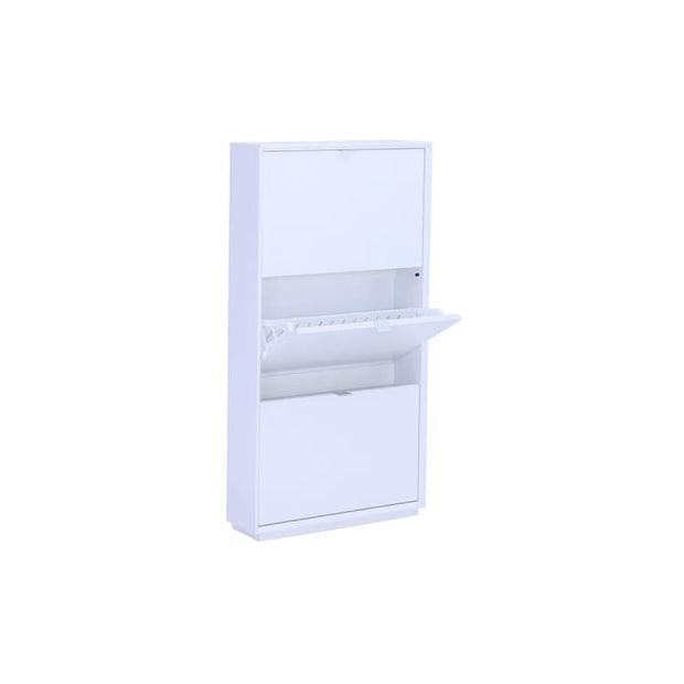 Liko 3 Door Shoe Cabinet In White - Home And Style