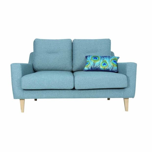 Malibu 2 Seater Sofa with Oak Leg, Marble Blue - Home And Style