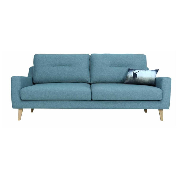 Malibu 3 Seater Sofa with Oak Leg, Marble Blue - Home And Style