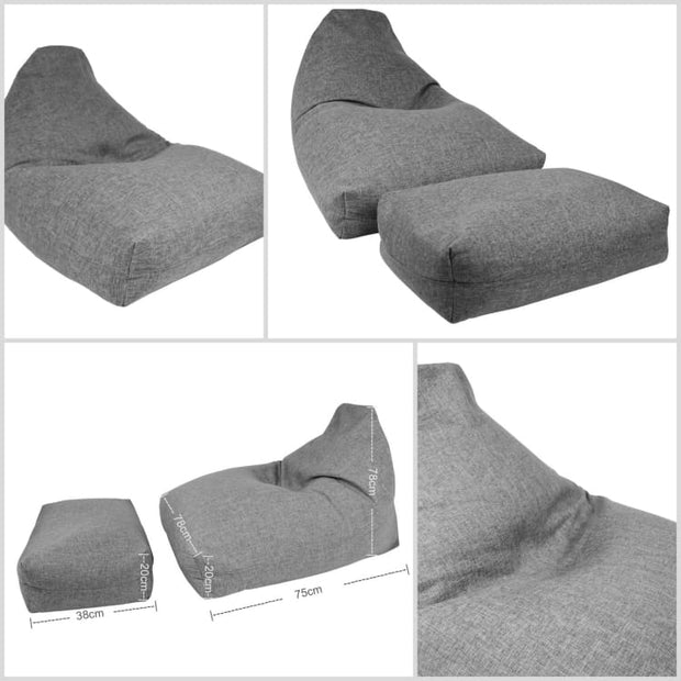 Moby Bean Bag + Ottoman in Grey - Home And Style