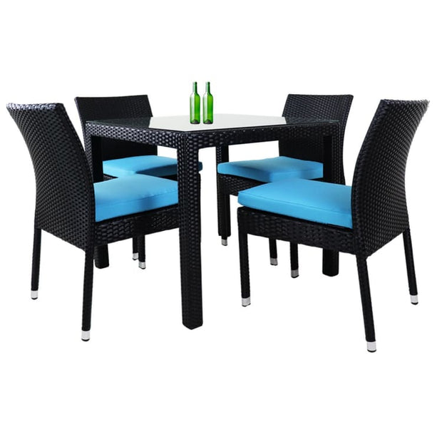 Monde 4 Chair Dining Set Blue Cushion by Arena Living - Home And Style