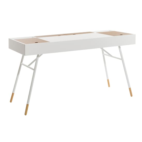 Morse Study Table - White & Oak - Home And Style