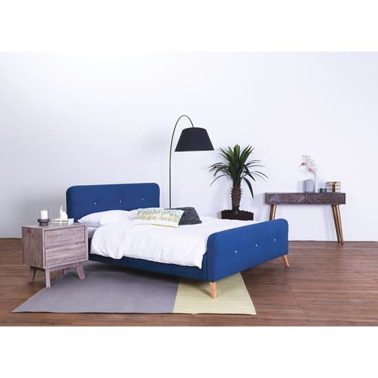 Neo Marston Queen Bed, Midnight Blue Fabric - Home And Style