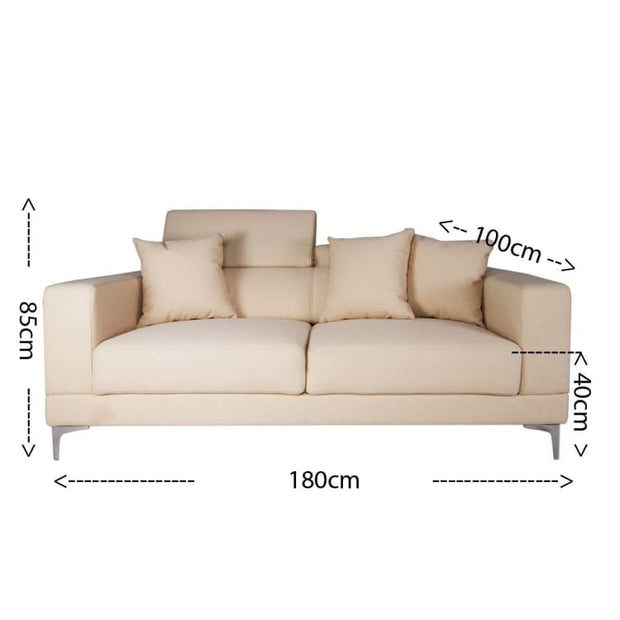Palais 3 Seater Sofa, Beige (Open Box) - Home And Style