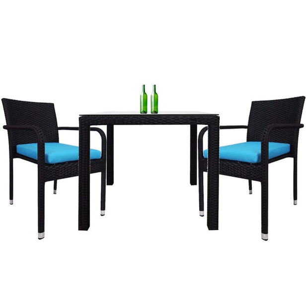 Palm 2 Chair Dining Set, Blue Cushion by Arena Living - Home And Style