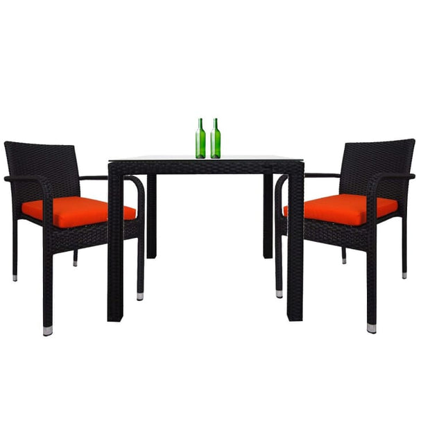 Palm 2 Chair Dining Set, Orange Cushion by Arena Living - Home And Style