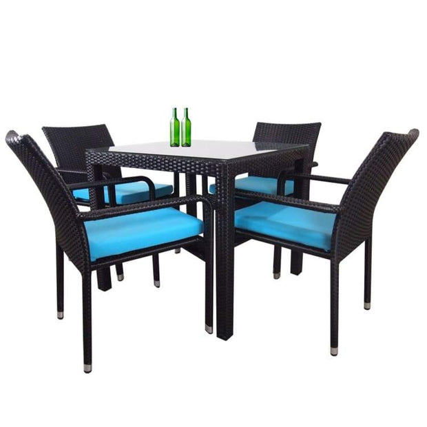 Palm 4 Chair Dining Set, Blue Cushion by Arena Living - Home And Style