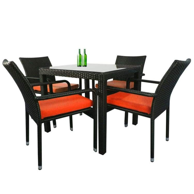 Palm 4 Chair Dining Set, Orange Cushion by Arena Living - Home And Style