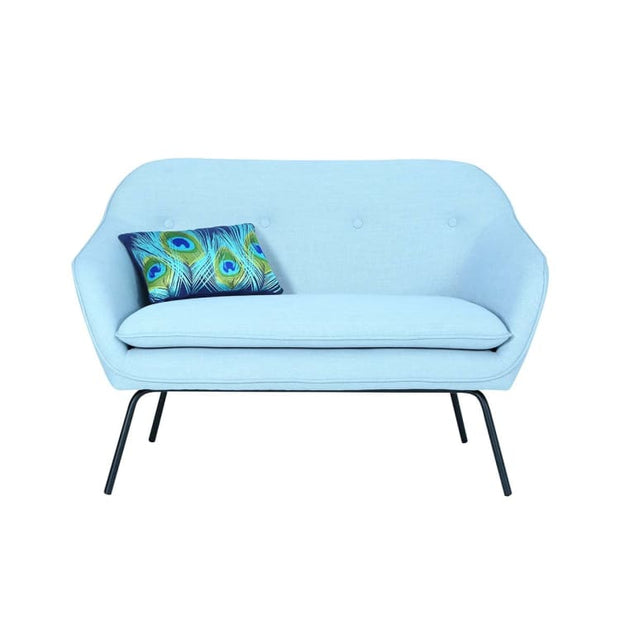 Picanto 2 Seater Sofa with Matt Black Epoxy Leg, Aquamarine - Home And Style