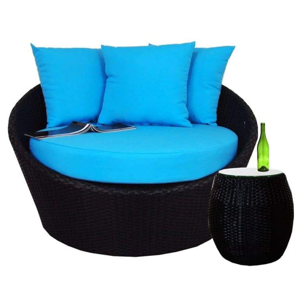 Round Sofa with Coffee Table, Blue Cushion by Arena Living - Home And Style