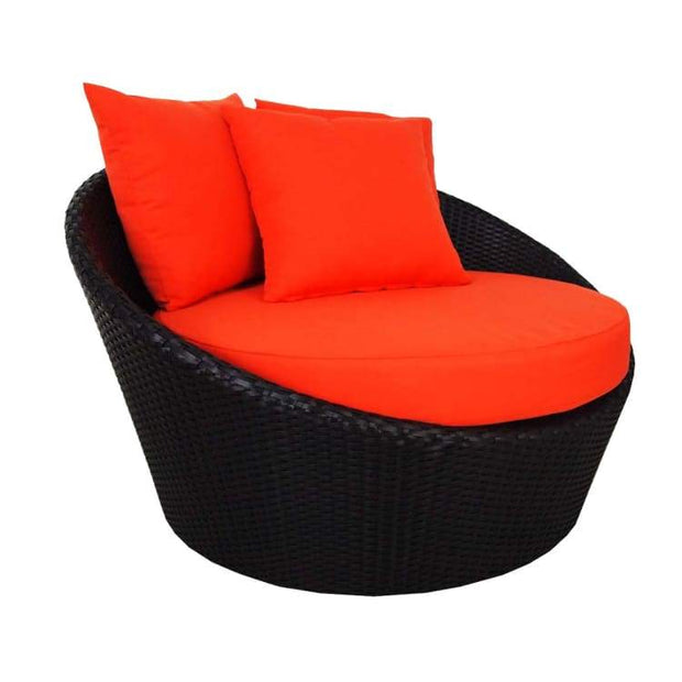 Round Sofa with Coffee Table, Orange Cushion by Arena Living - Home And Style