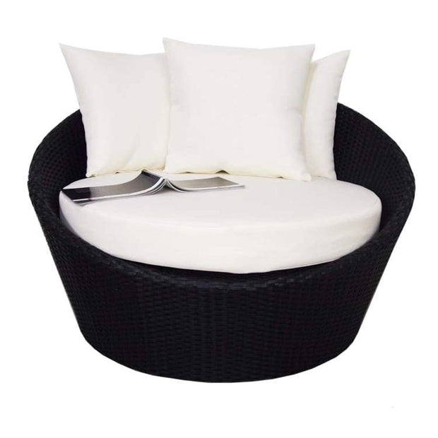 Round Sofa with Coffee Table, White Cushion  by Arena Living - Home And Style